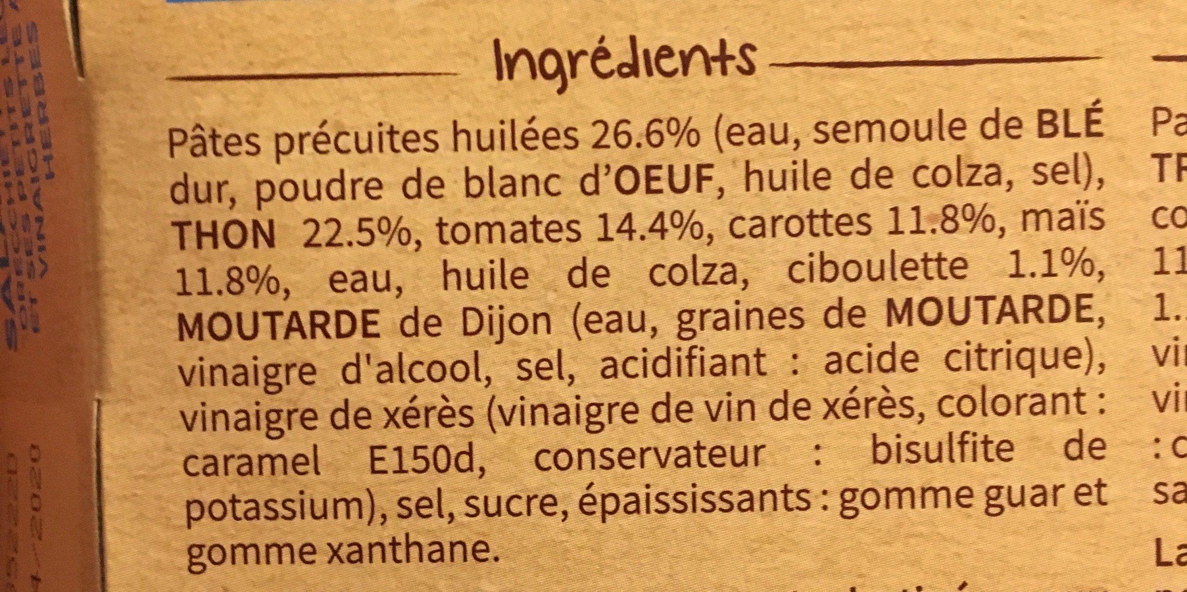 Salade  orecchiette au thon, petits légumes - Ingrédients