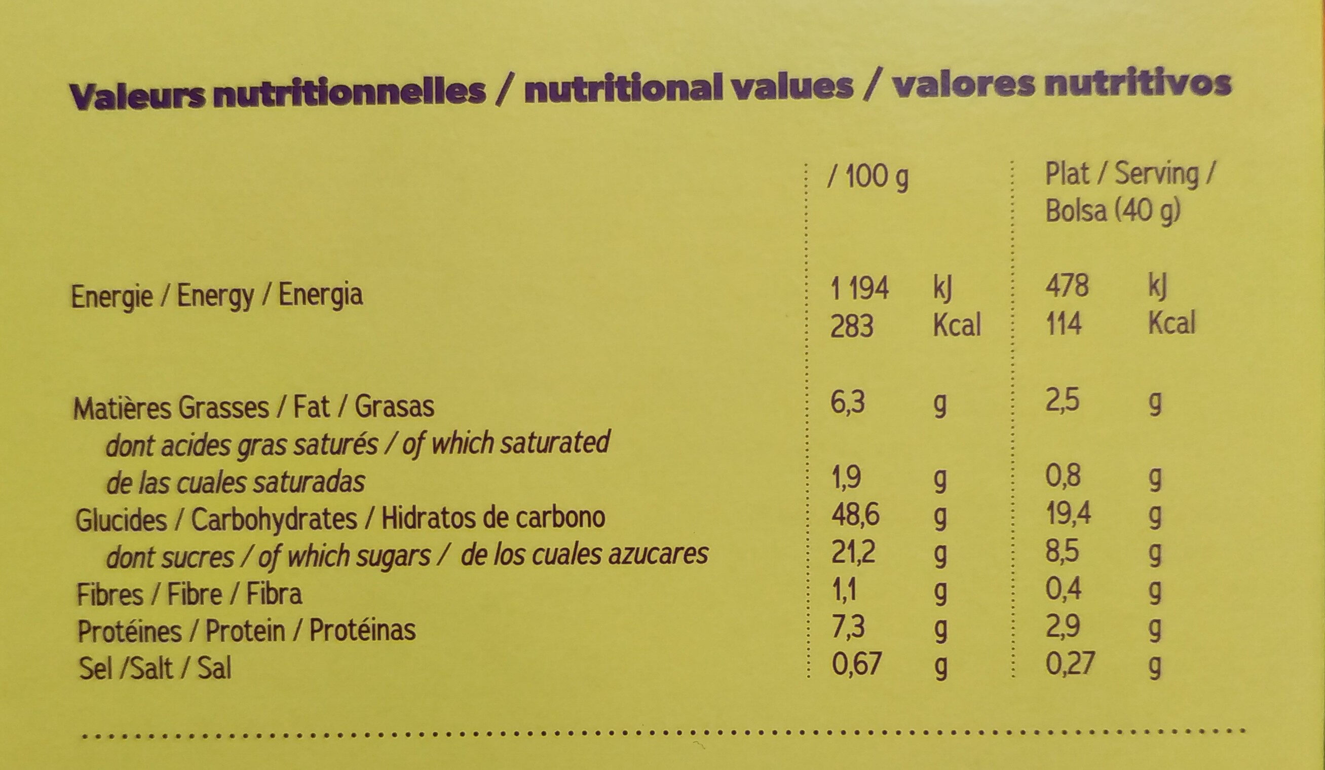 Pancake nature - Nutrition facts - fr