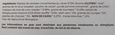 Muesli anti-cholestérol aux pépites de chocolat - Ingrédients - fr