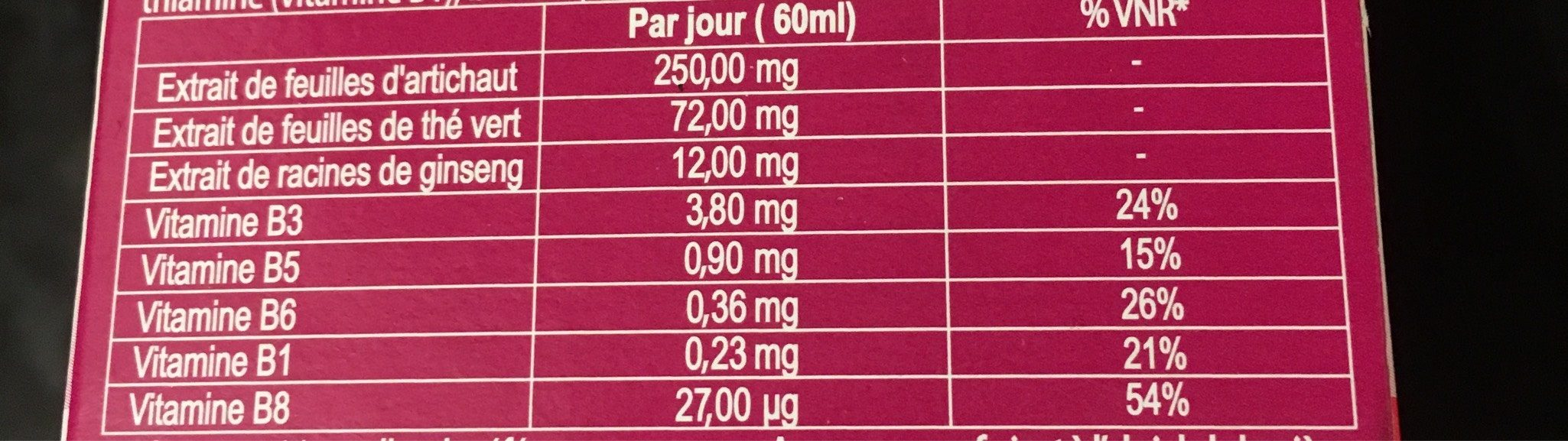 Best of tv/M6 4 Shots Minceur Ananas 14 - Nutrition facts