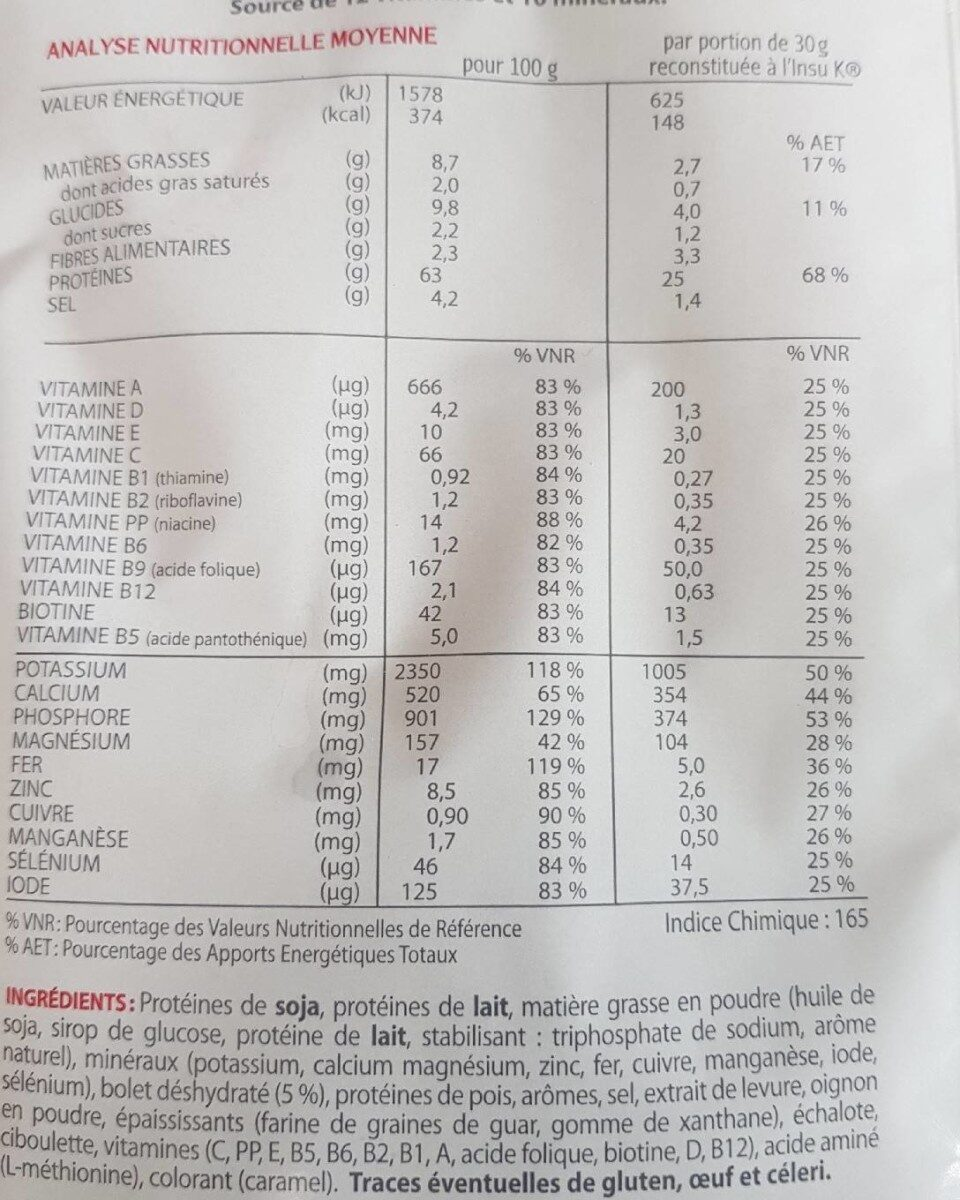 Veloute forestier - Informations nutritionnelles - fr