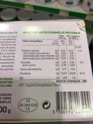 Insudiet Hachis Parmentier - Nutrition facts - fr