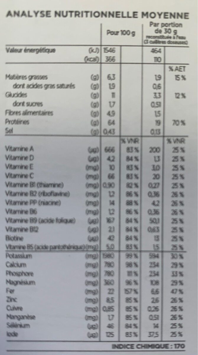 Entremets cacao - Nutrition facts - fr