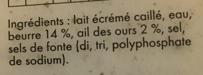 Cancoillotte Ail des Ours - Ingredients