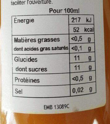 Nectar abricot - Valori nutrizionali - fr