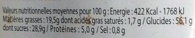 Barre Pâtissière (+100 g gratuits) - Información nutricional
