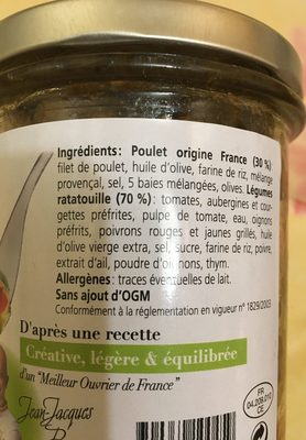 Poulet et legumes en ratatouille - Ingredients