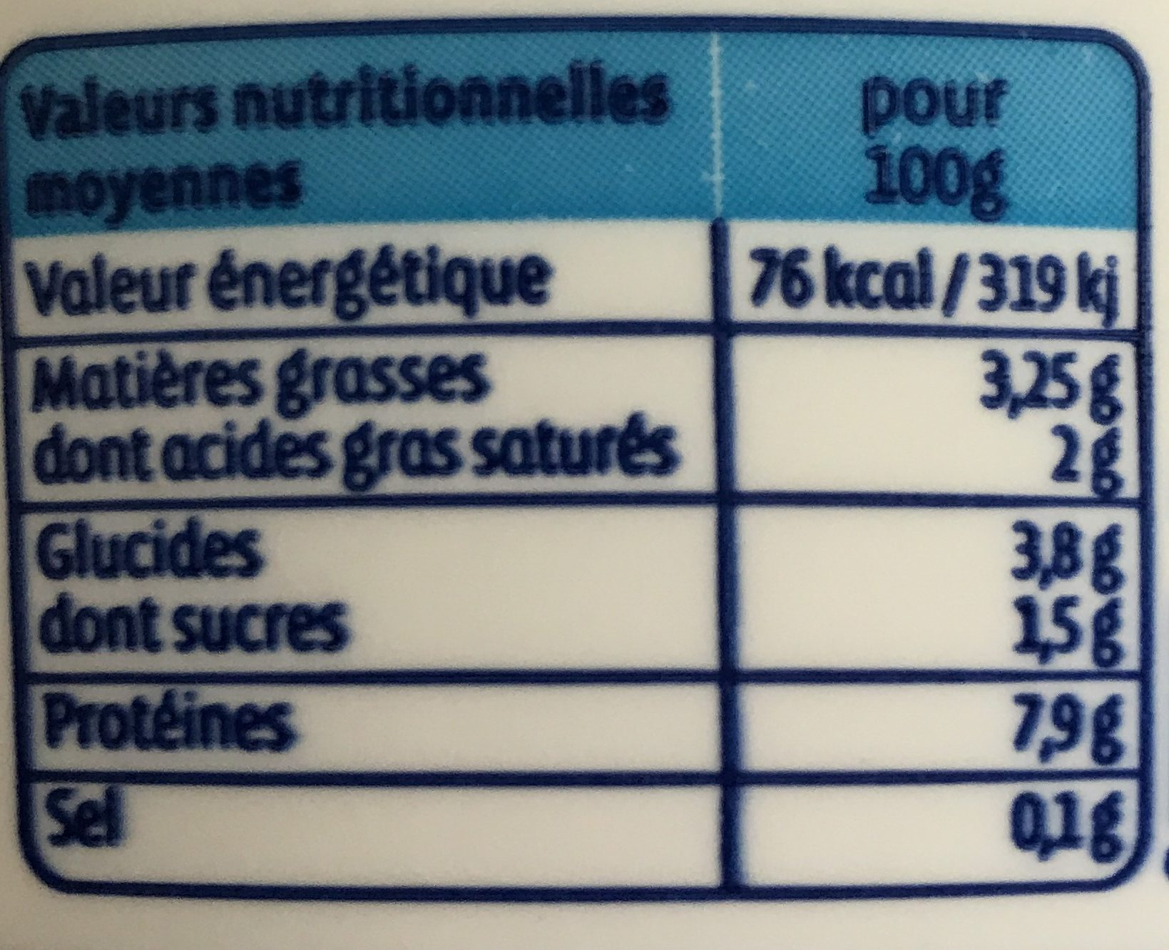 Fromage frais - Nutrition facts