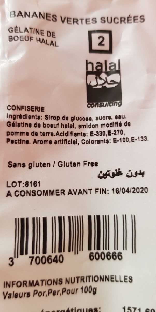 Bananes vertes sucrées Halal - Ingrediënten