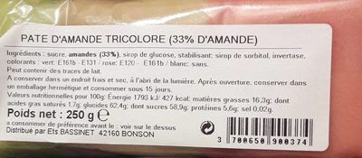 Pâte d'amande tricolore - Produit - fr