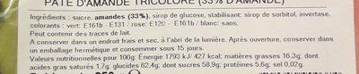 Pâte d'amande tricolore - Ingrédients - fr