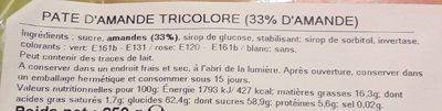 Pâte d'amande tricolore - Informations nutritionnelles - fr