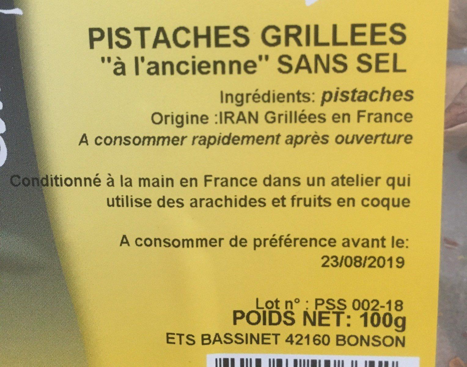 Pistaches grilllees a l'ancienne sans sel - Ingrédients - fr