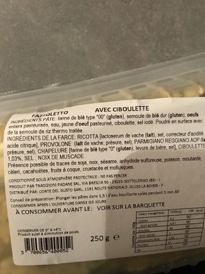 Pates fraiches Fazzoletto a la ciboulette CORTE DEL GUSTO - Ingredients
