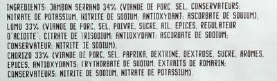 Plateau Medio Español Serrano, Lomo, Chorizo - Ingredients
