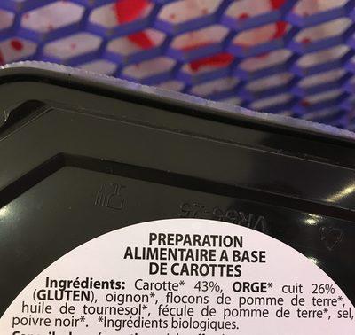 Galette de legumes aux carottes - Ingrédients - fr