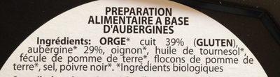 Galette de légumes à l'aubergine - Ingrédients - fr