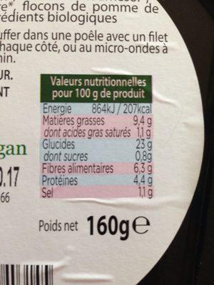 Galette de légumes à l'aubergine - Informations nutritionnelles - fr