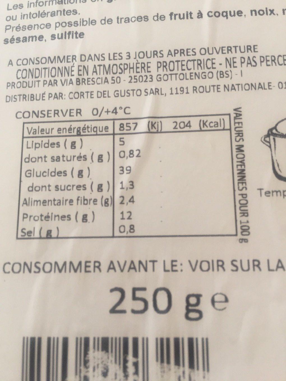 Pates fraiches caramella - Nutrition facts