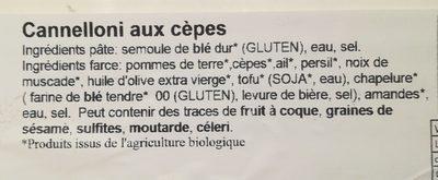 Cannelloni aux cèpes - Ingredients
