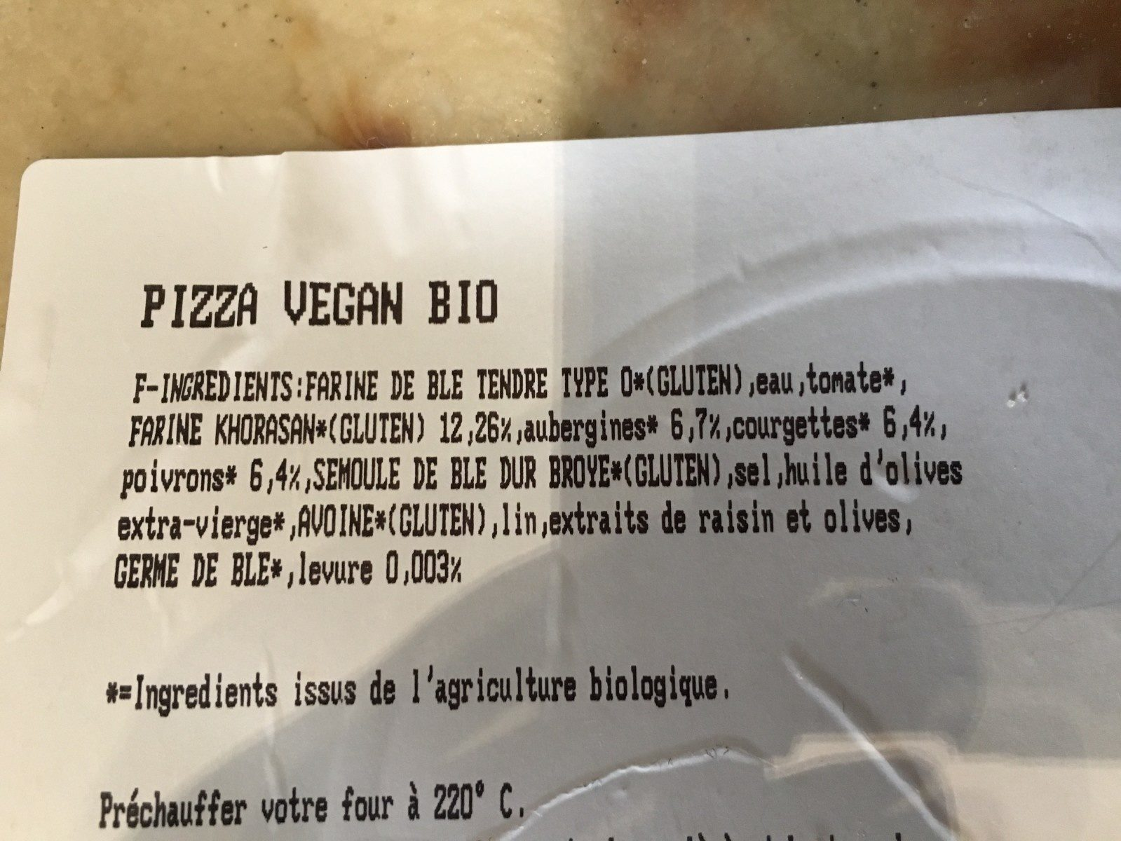 Pizza Vegan Bio Tomates et légumes grillés - Ingrédients