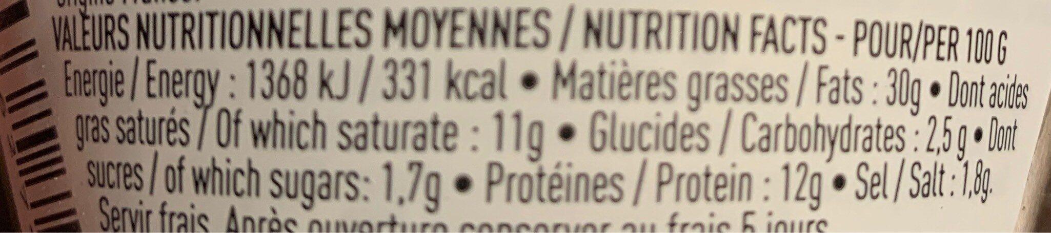 Terrine de canard aux figues de Sollies - Informations nutritionnelles - fr
