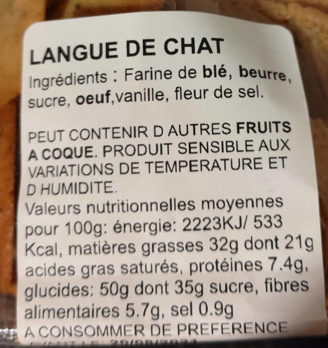 Langue de chat - Nutrition facts - nl