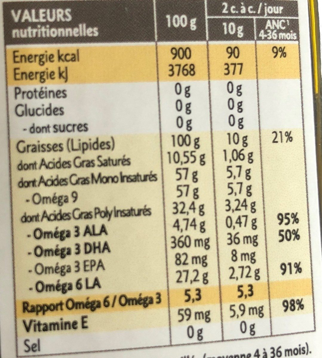 Mélange 6 Huiles Bébé Bio - 250ML - Quintesens - Informations nutritionnelles - fr