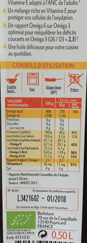 Huile Fit-actifs - Informations nutritionnelles - fr