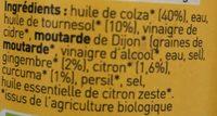 Assaisonnette - La Tonique - Gingembre, Curcuma, Citron - Ingrédients - fr