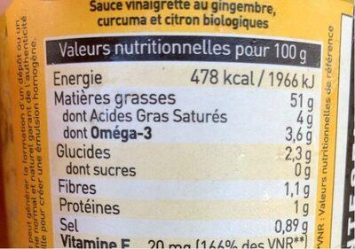 L'assaisonnette tonique - Informations nutritionnelles - fr