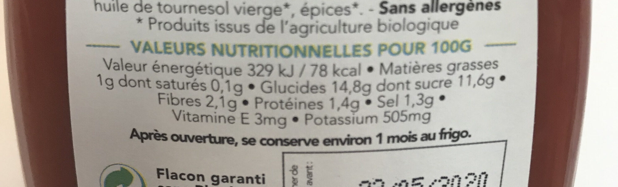 L'incroyable Ketchup - Nutrition facts