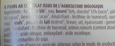 6 Pains au chocolat bio - Ingredients - fr