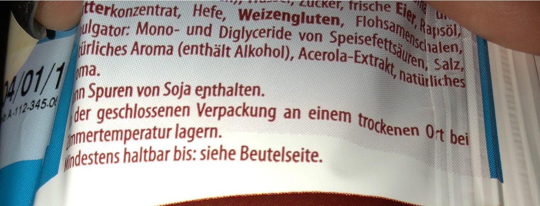 Brioche gout chocolat - Informations nutritionnelles