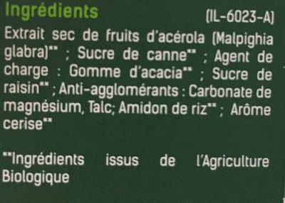 Santé Verte Toniphyt Acérola. BT - Ingrédients - fr