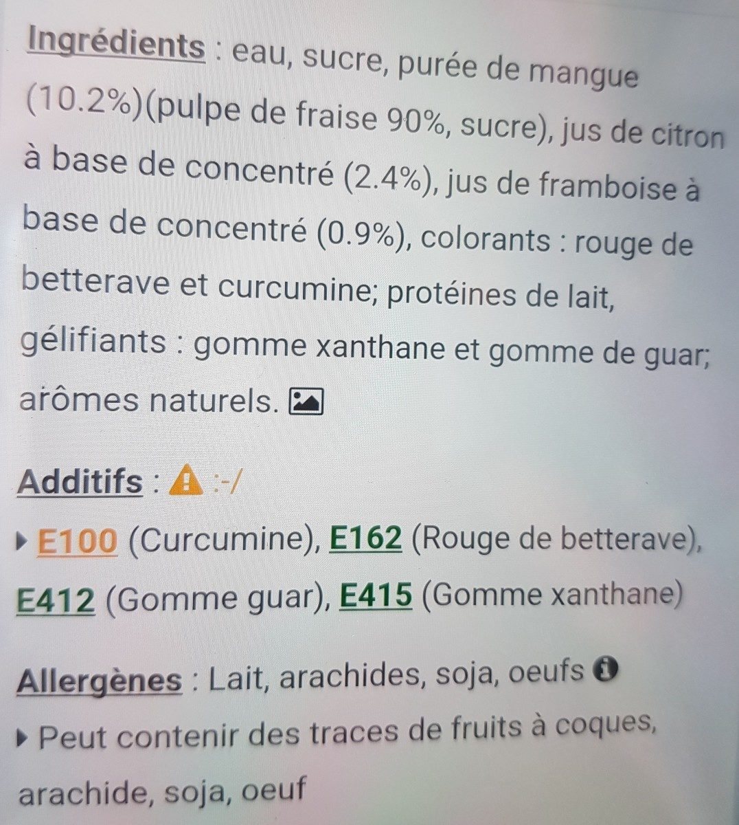 Sorbet mangue fruits rouges - Ingrediënten