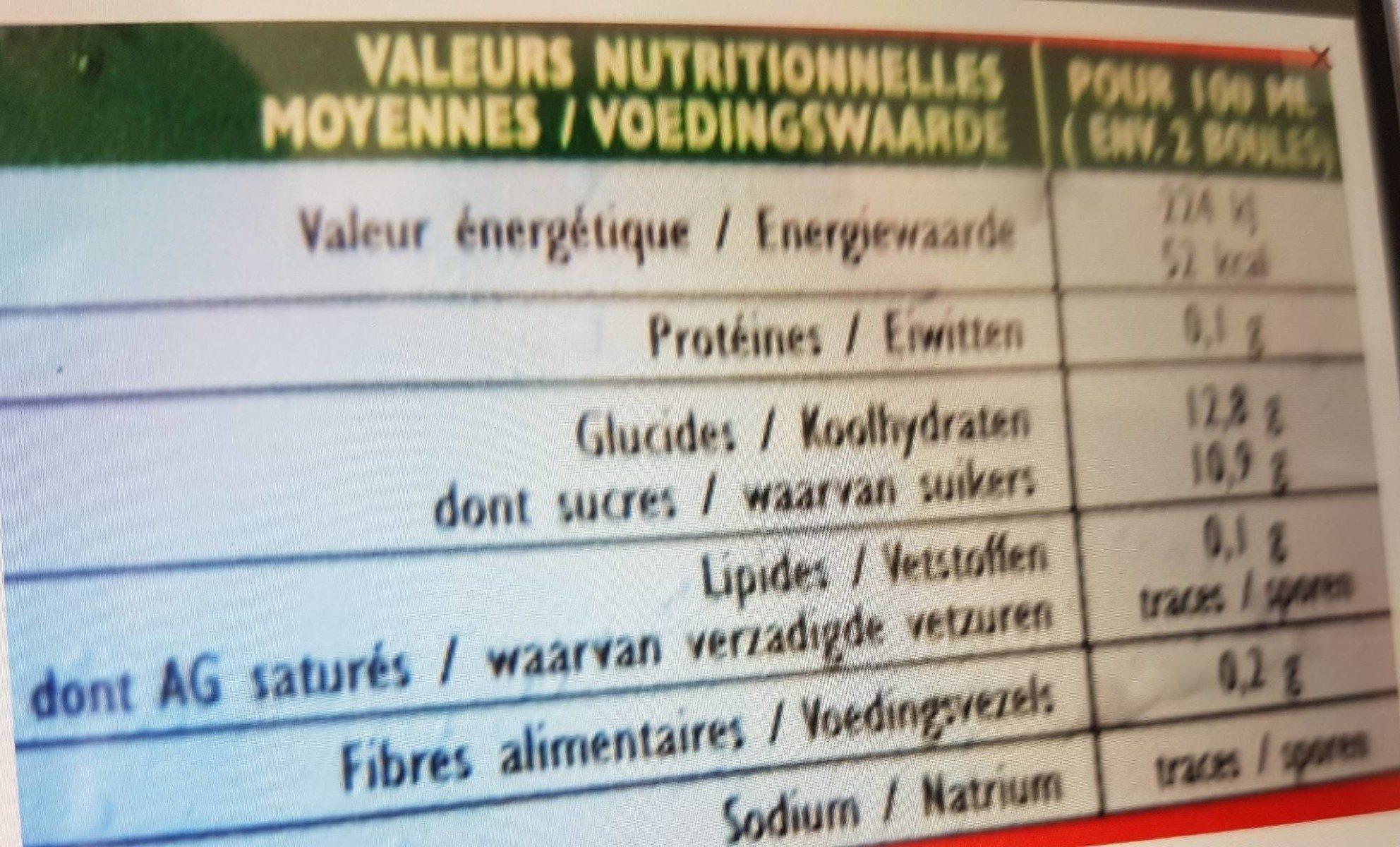 Sorbet mangue fruits rouges - Voedigswaarden