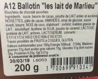 Ballotin chocolats lait - Ingredients