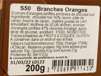 Branches oranges - Valori nutrizionali - fr