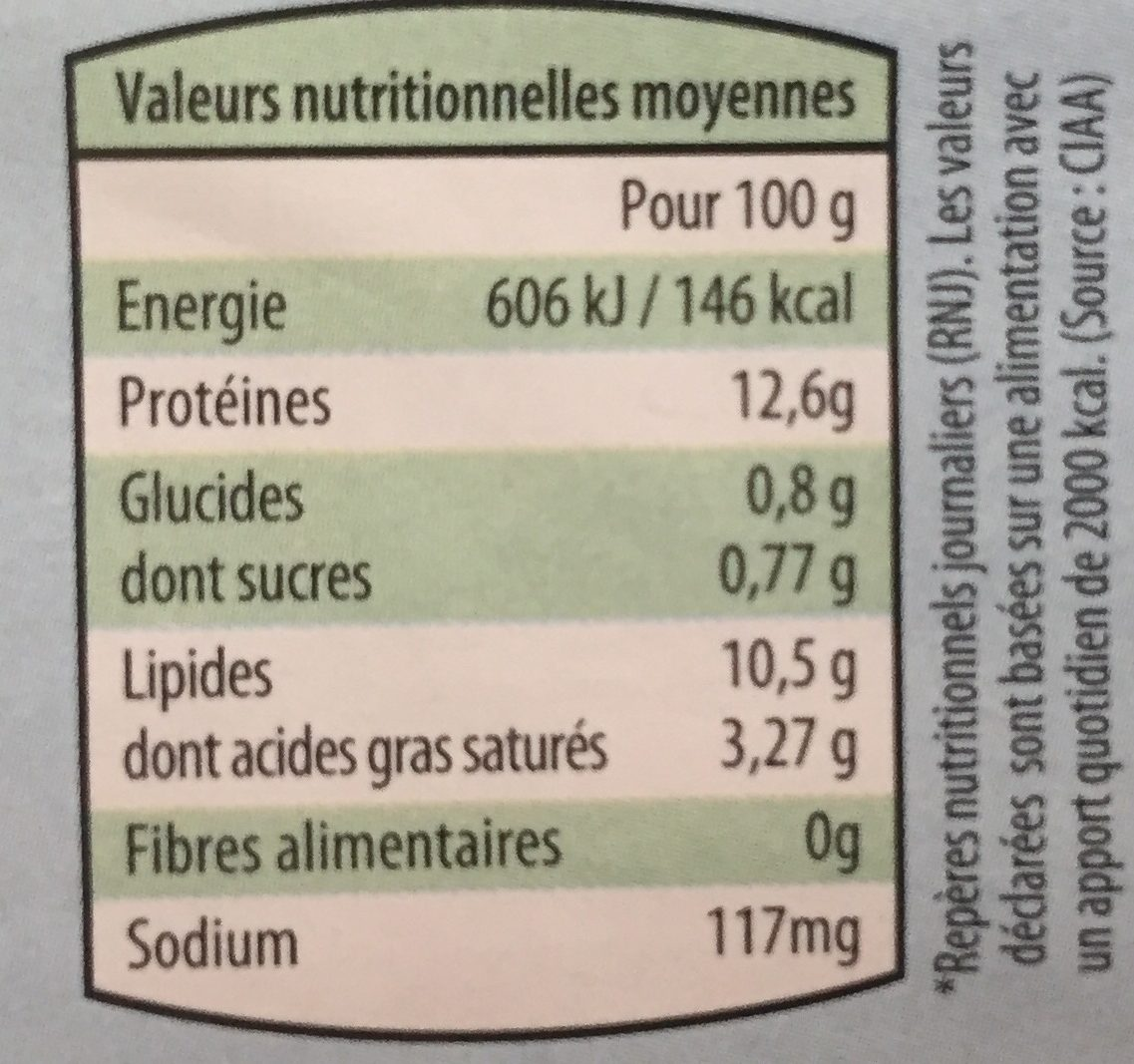 Oeufs - Voedingswaarden - fr