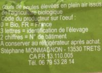 6 œufs Bio - Ingrediënten - fr