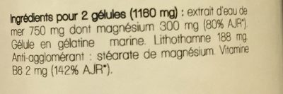 Magnésium marin Vitamine B6 - Ingrédients - fr
