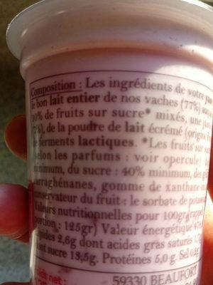 Yaourt au lait entier préparé à la ferme - Ingrédients - fr