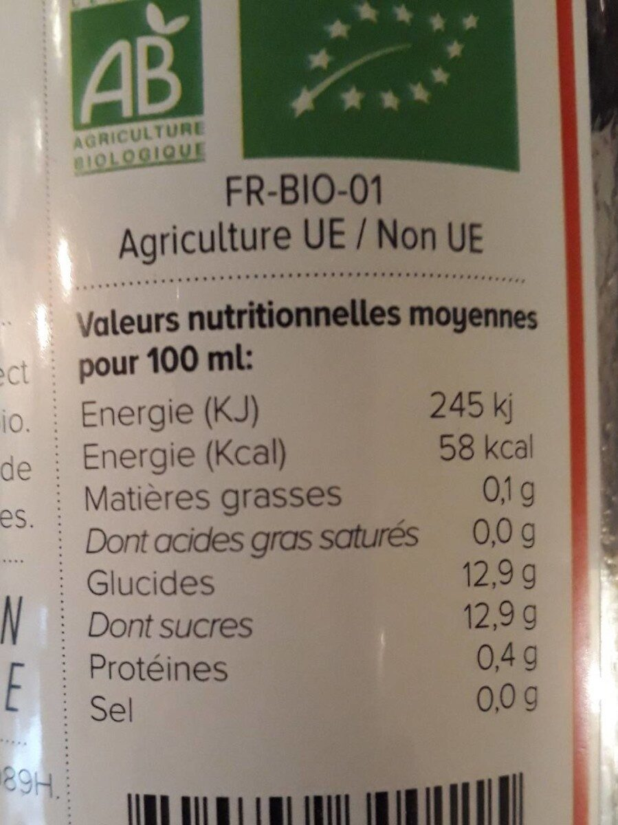 Nectar D'abricot Bio - Valori nutrizionali - fr