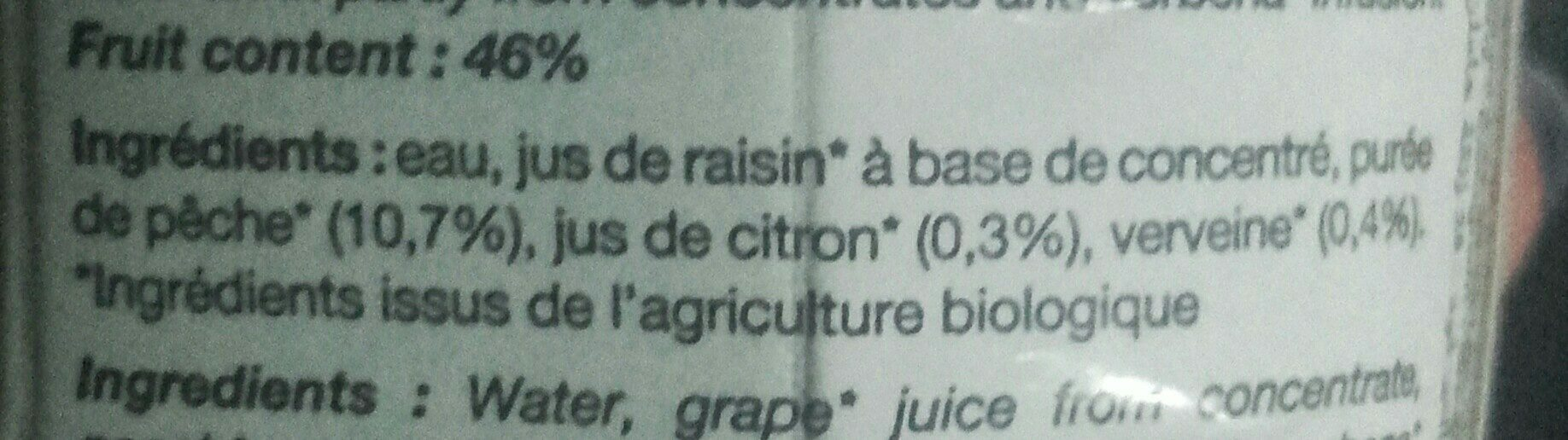 Pêche-Citron-Verveine - Ingredients