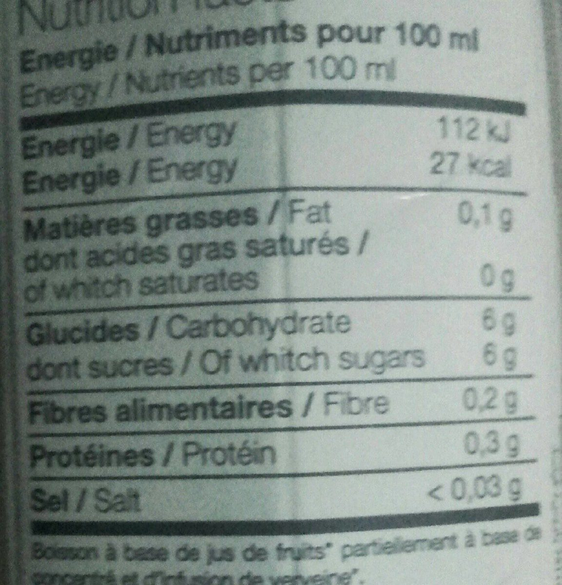 Pêche-Citron-Verveine - Nutrition facts