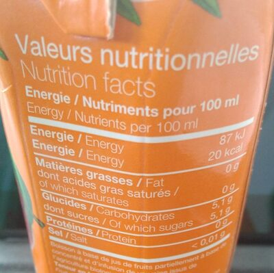 Infusion - Informations nutritionnelles - fr