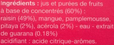 Boisson aux fruits tropicaux (Pitaya, Acerola & Guarana) - Ingrédients