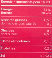 Boisson aux fruits tropicaux (Pitaya, Acerola & Guarana) - Voedingswaarden - fr
