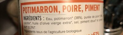 Soupe Bio Potimarron, Poire, Piment - Ingredients - fr